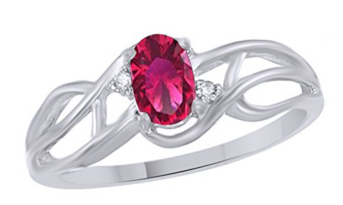 Jewel Zone US Simulated Ruby & White Natural Diamond Solitaire Ring in 10k Solid Gold (0.38 Cttw)