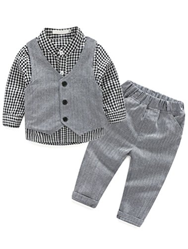 Abolai Baby Boys' 3 Piece Vest Set with Shirt,Vest and Pant Style2 Grey 70 -