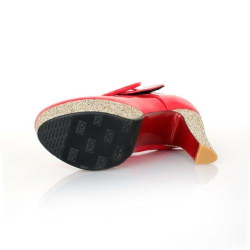 Chiusi Rosso Weipoot Pelle Donne Solidi Pu Piattaforma 7 Verniciata B Pompe Tallone Sequ2015 Ci m Grosso Punta Con Arrotondata S5dd6q