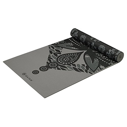 Gaiam Yoga Mat Premium Print Reversible Extra Thick Non Slip Exercise & Fitness Mat for All Types of Yoga, Pilates & Floor Exercises, Granite Reflection, 6mm