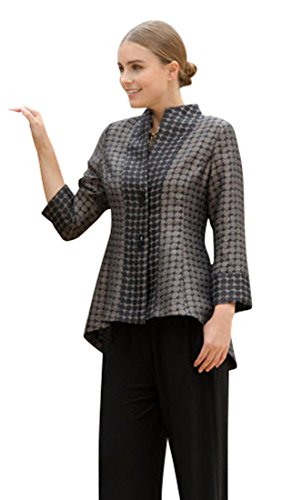 IC Collection - Vertical Dots, 3/4 Cuff Sleeves Hi-Lo Hem Asian Style Taupe Jacket by IC Collection