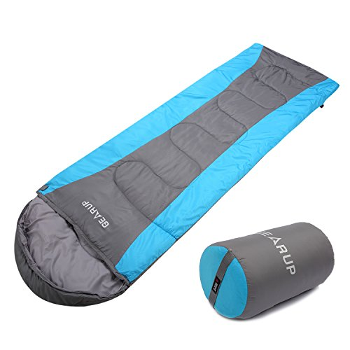GEARUP Ultralight 50F Sleeping Bag For Spring Summer Camping Hiking With Stuff Sack Teen Sleeping bag For Boys Girls 74