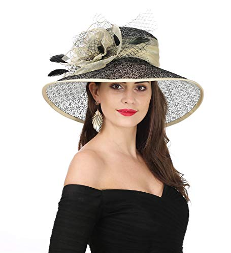 (SAFERIN Women's Organza Church Kentucky Derby Fascinator Bridal Tea Party Wedding Hat (SL-Beige Black) )