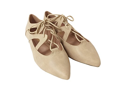 Syringa! Par La Ville Classifiée Mignonne Lace Up Cutter Oxford Beige Leatherette