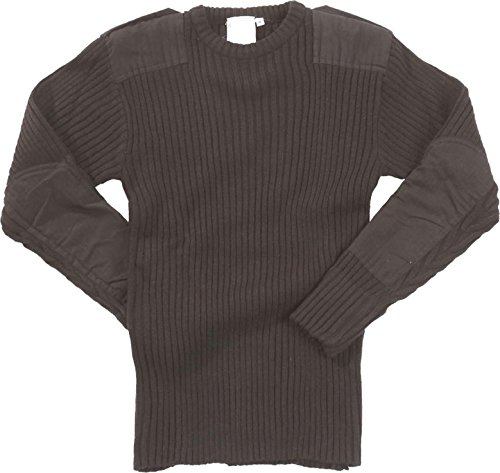Click Black V Neck Acrylic Sweater Mens Jumper Security Military Army Patches