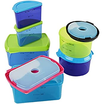 Fit u0026 Fresh Kidsu0027 Reusable Lunch Box Container Set with Built-In Ice Packs  sc 1 st  Amazon.com : sectional lunch containers - Sectionals, Sofas & Couches