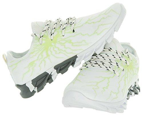 Beppi Leuchtschuhe für Jugendliche | Turnschuhe für Jungen | Blau mit Blitzmuster | Sneaker mit leuchtendem Neon-Muster Weiß