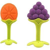 KIDZVILLA® Fruit Shape Silicone Teether for Baby (Combo Saver Pack of 2) (Orange_Grape)