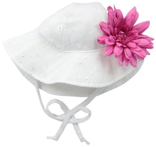 Flap Happy Baby Girls' Upf 50+ Floppy Hat with Flower, White Eyelet/Azalea Flower, X - Girl Hat Flower Floppy