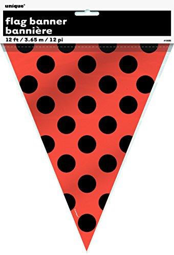12ft Plastic Orange & Black Polka Dot Halloween Pennant Banner ()
