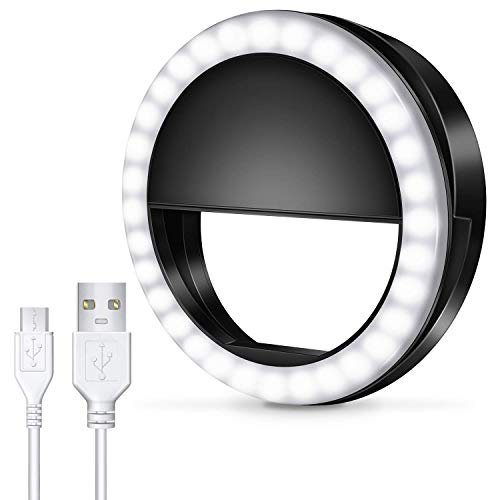 Meifigno Selfie Phone Camera Ring Light with [Rechargeable] 36 LED Light, 3-Level Adjustable Brightness On-Video Lights Clips On Night Makeup Light Compatible for iPhone Sumsung Photography (Black)