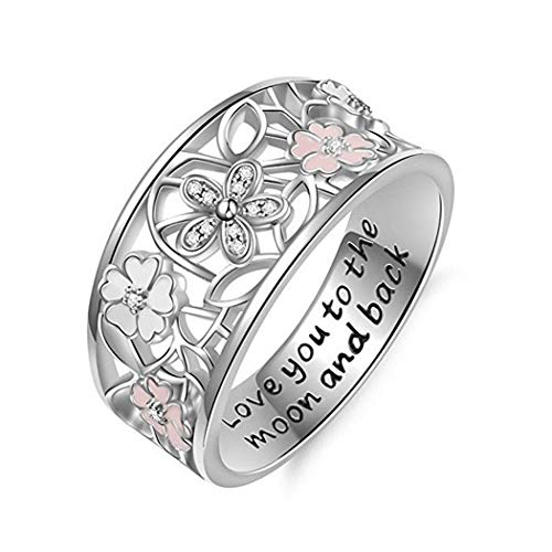Women's Rings Fashion Hollow-Carved Design Floral Wedding Rings with Letter Printing