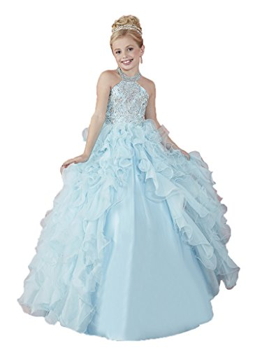 GreenBloom Crystal Girls' Princess Pageant Ball Gowns Dress 12 US Light Blue by GreenBloom