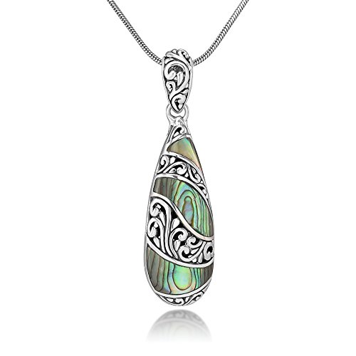 - Sterling Silver Natural Abalone Shell Inlay Filigree Teardrop Pendant Necklace w/ 18