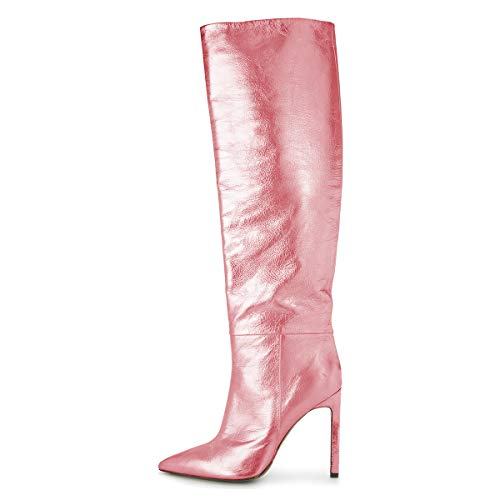 Shoes Toe Heels Long Knee High 4 US Dress Women 15 High Pink Stiletto Boots Metallic Size Closed FSJ nq70BgwF