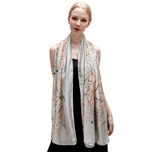 100% Silk Scarf for Women Ladies Printed Shawl Wrap Headscarf Long Large Lightweight Satin Grey Scarves
