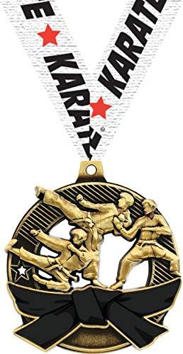 空手ブラックベルトメダル - 2.25インチゴールド空手メダル受賞 プライム B07GBFZY7K 100