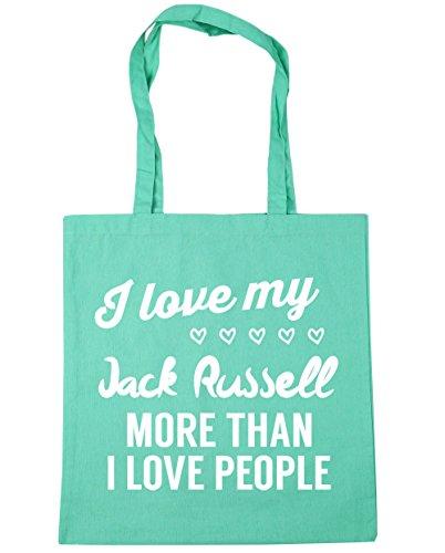 HippoWarehouse I Love My Jack Russel–más de I Love People Tote Compras Bolsa de playa 42cm x38cm, 10litros verde menta