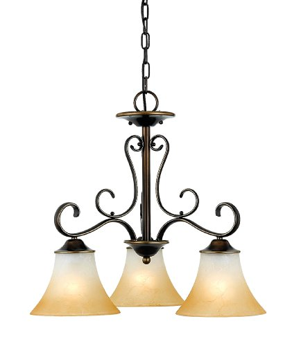 Quoizel DH5103PN Duchess European Downlight Chandelier, 3-Light, 300 Watts, Palladian Bronze (20