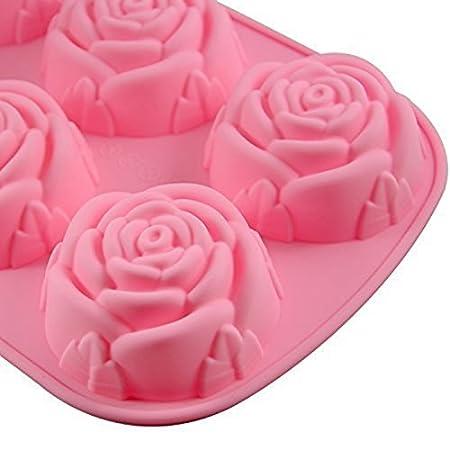 Hosaire Molde de silicona de 6 cavidades en forma de rosa para hacer en casa jabón, pastel, magdalena, pan, panecillo, pudín, gelatina, y más: Amazon.es: ...