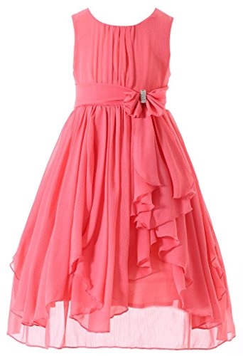 Bow Dream Flower Girl Dress Bridesmaid Ruffled Chiffon Coral 10 by Bow Dream