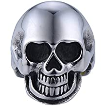 JAJAFOOK Sterling Titanium steel Men's Stainless Steel Smooth Polished Big Statement Gothic Skull Face Skull Ring 7-13
