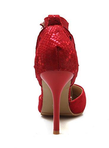 Strass à Bride Boucle Talons Sandales Rouge Aiguilles de Pointu Moyen avec Cheville Bout UH Femmes 0qwCx8nO