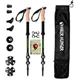 Hiker Hunger New Updated 100% Carbon Fiber Trekking Pole 2.0 Ultralight Weight, Collapsible, Durable Metal Screw Flip Lock and Newly Designed Carry Bag Zip Pocket for Accessories