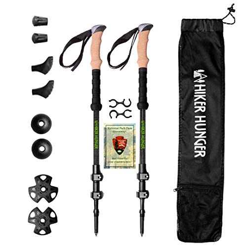 Hiker Hunger 100% Carbon Fiber Trekking Poles - Ultralight & Collapsible with Quick Flip-Lock, Cork Grips, Tungsten Tips