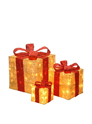 National Tree Set of 3 Assorted Gold Sisal Gift Boxes with Red Bow and Clear Lights (MZGB-ASST-13L-1)