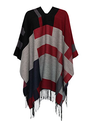 Shawl Women's Wrap Front Cape MissShorthair Color Fashionable Printed 4 Open Poncho PpqZ1Swx