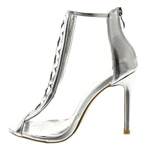 toe Cm Angkorly Croisées Haut Chic Talon Femme Transparent Stiletto Bottine Chaussure Aiguille Peep Lanières 5 10 Mode Argent vXx7nrqawX