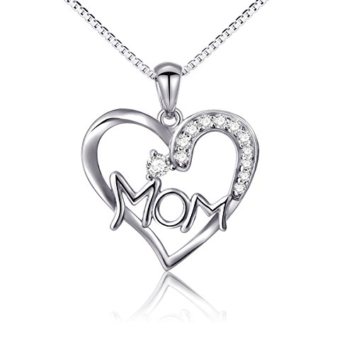 Mothers Birthday Gift 925 Sterling Silver Personalized Love Heart Mom Necklace for Women, 18 inch Box Chain