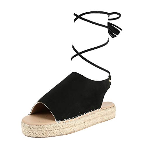 - New!Qingell Womens Casual Espadrilles Trim Rubber Sole Flatform Studded Wedge Buckle Ankle Strap Open Toe Sandal 2019 Black