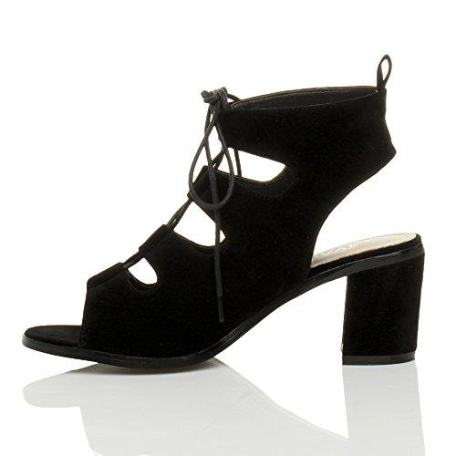 ... Damen Hoher Absatz Ausgeschnitten Reimchen Peep toe Stiefeletten  Sandalen Größe Schwarz Wildleder ...
