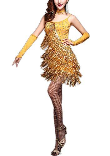 Dance Costumes Fringe Dress (Whitewed Backless Sparkle Fringe Sequin Latin Salsa Dance Dresses Costumes Gold)