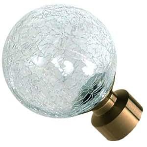 Speedy Crash - Embellecedores para extremos de barra de cortina, 28 mm, 2 unidades, acabado en latón envejecido, diseño de esfera con aspecto de cristal dañado, color dorado y transparente
