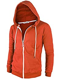Mens Cotton Lightweight Slim Fit Pocket Zip-up Hoodie Jacket