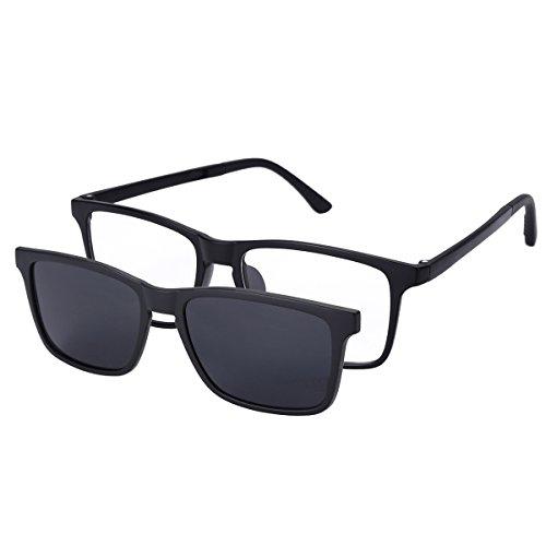 O-LET Eyeglass Frames for Prescription with Clip On Sunglasses Polarized for Women Men (Black ()