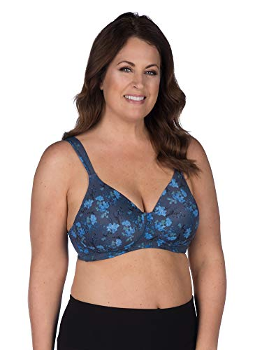 Leading Lady Women's Plus-Size Wireless Padded T-Shirt Bra, Blue Floral, 54A