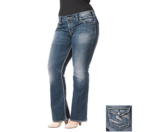 Silver Jeans Women's Plus-Size Suki Mid Rise Bootcut Jean with Flap Back Pocket, Indigo, 20x30