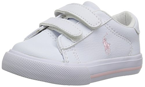 (Polo Ralph Lauren Kids Girls' Easton II EZ Sneaker, White Tumbled Light Pink pop, 6 Medium US Toddler)