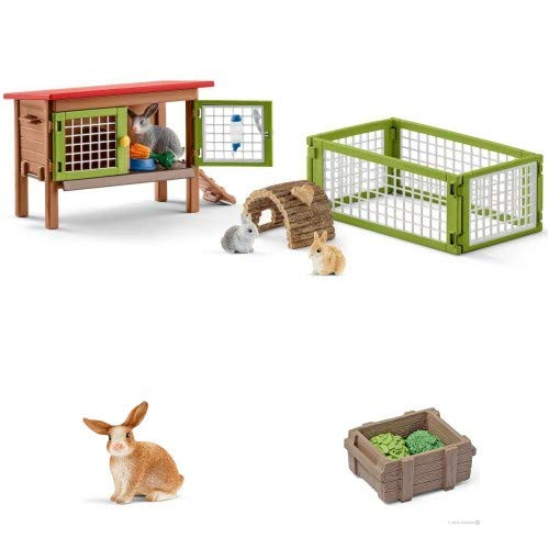 (Schleich Farm Life Rabbit Hutch with 3 Bunnies and Leaves Set in Crate Bagged Together for)