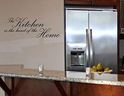 Amazon.com: THE KITCHEN IS THE HEART OF THE HOME Vinyl wall quotes ...
