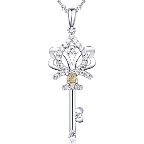 EL UNO Small Citrine Crown Key Sterling Silver Pendant Necklace with Yellow Topaz Birthstones for Girls