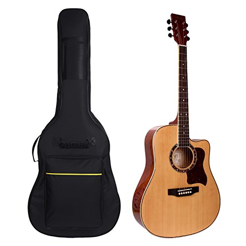 Dealoff RR-18-1-16-20 Guitar Bag,41 Inch Acoustic Guitar Gig Bag Soft Case Cover Water-resistant Interior Nonwovens Black