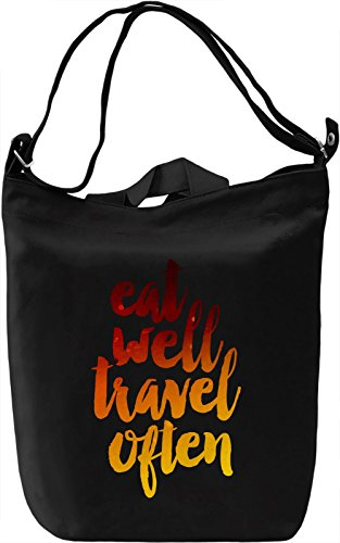 Eat Well & Travel Often Borsa Giornaliera Canvas Canvas Day Bag| 100% Premium Cotton Canvas| DTG Printing|