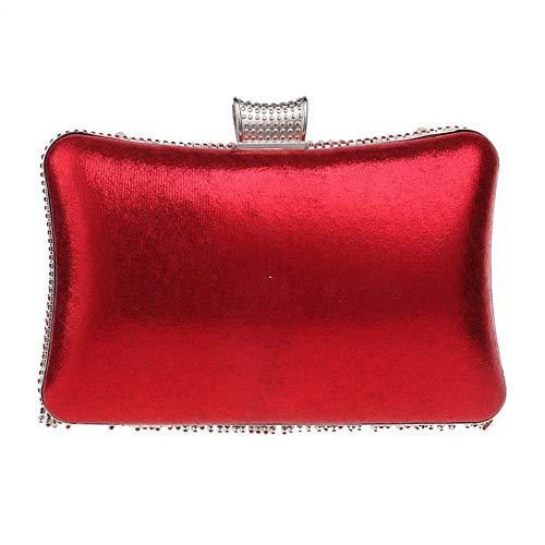 Maquillage Clutch Mariage Bal Chaîne Bourse Red Femme Main Sac Bandouliere pour Soirée Fête Sac à Pochette PpwnTqH6T