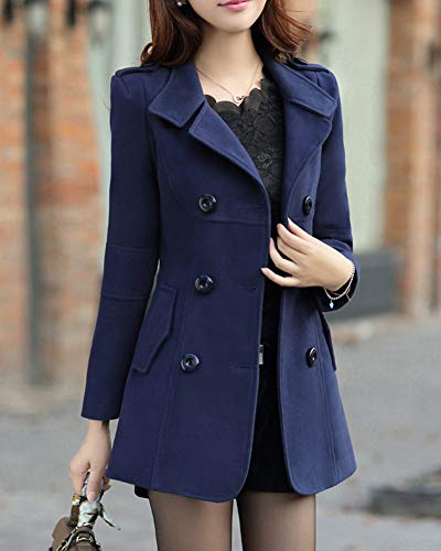 Giacche Pulsante Moda Cappotti Imbottito Militare Donne Cappotto Caldo Marina Outwear 7vd1wx