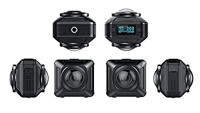U-TECH 720 Degree VR Camera with Dual Spherical Lens, Panoramic Wi-Fi Camera with IPX8 Waterproof Case - Black